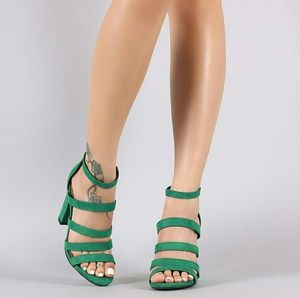 Shoes - Bamboo Strappy Suede Ladder-Up Chunky Heel